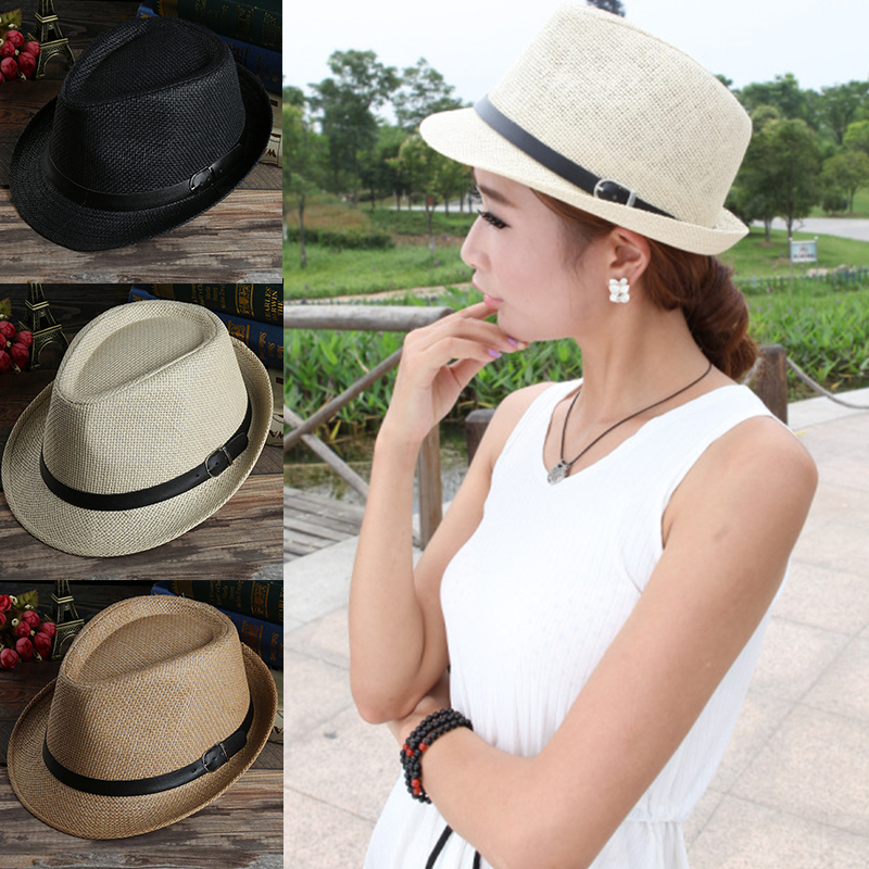 Industrious Sale 1pc Fashion Women Men Multicolor Couple Straw Jazz Hat Weave Beach Unisex Couple Visor Spring Summer Spare No Cost At Any Cost Men's Sun Hats