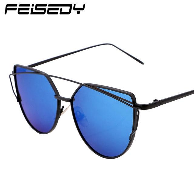 FEISEDY - Occhiali da sole - Donna blu Blue/Silver ZMm8Ex