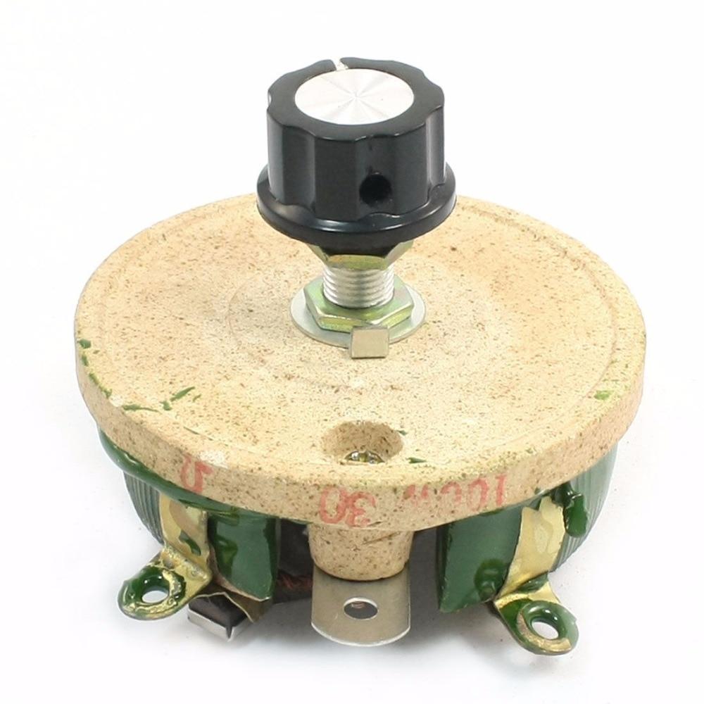 1PCS Wirewound Ceramic Potentiometer Top Rotary Rheostat Resistor 100W 30ohm wirewound ceramic potentiometer adjustable rheostat resistor 50w 1r 2r 5r 10r 20r 30r 50r 100r 200r 300r 500r 1kr 2kr 3kr