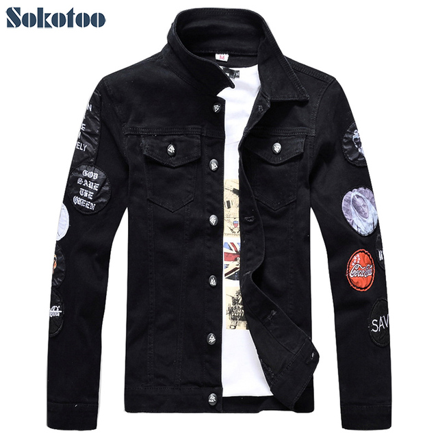 163c8a53937a2 Sokotoo Men's slim full sleeve black denim jean jacket Casual Turn down  collar badge patch design outerwear Top