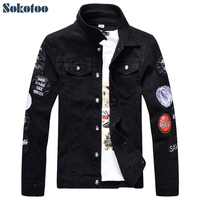 Men S Slim Full Sleeve Black Denim Jacket Casual Turn Down Collar Badge Patch Design Outerwear
