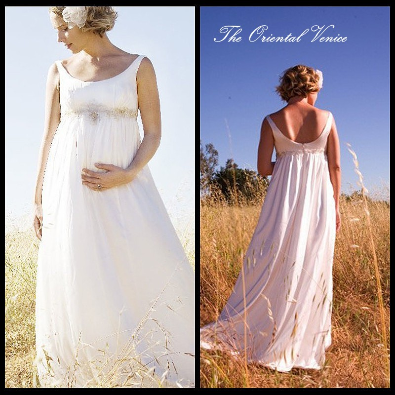 Bohemian Chiffon Maternity Wedding Dress For Pregnant Bride Expire Waist Custom Made Plus Size Bridal Gowns Vestido de noiva