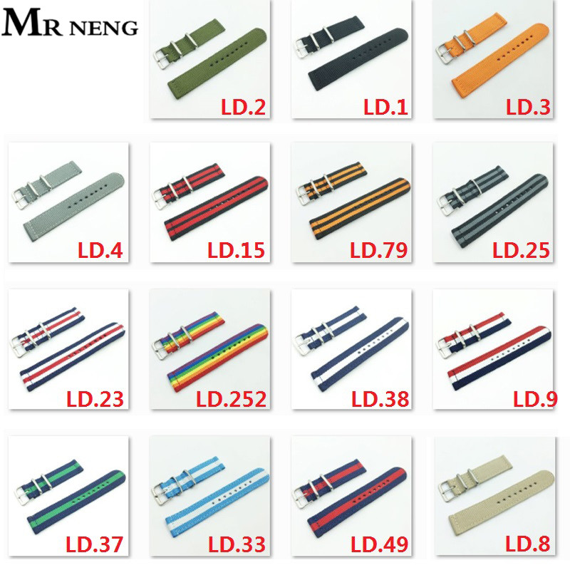 MR NENG Two Paragraph Canvas 20mm Nylon Watch Strap 22mm Watch Band 18mm Nato Strap Solid Color Watch Belts 24MM