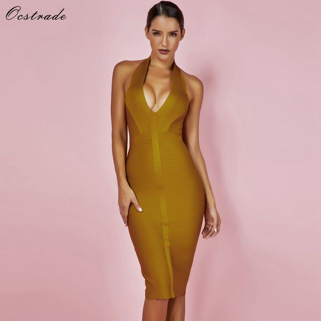 Ocstrade Summer Dresses Bandage 2019 New Arrivals Women Halter Sexy Yellow Bandage Dress Rib Hollow Out Bodycon Dress Club Party