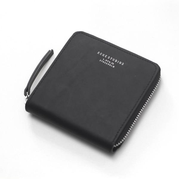 acne black zipper wallet 100 leather 11cm11cm black zip cardholder - Zip Card Holder