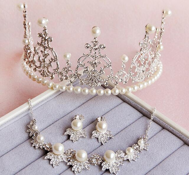Elegant design bridal tiara necklace earrings silver plated pearl