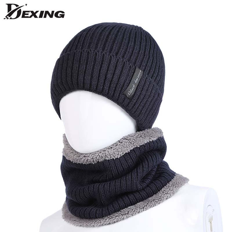 HOT Neck Warmer Cap Scarf Set Mask Knitted Skullies Beanies Wool Caps Knit Beanies Winter Hat for Men Boy Balaclava
