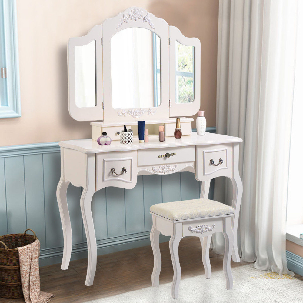 White Makeup Dressing Table Vanity and Stool Set Tri Folding Vintage ...