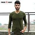 2017 Nueva Moda Para Hombre Militar camisetas Casuales de Manga Larga Caza de Combate del ejército Tactical Camiseta 100% Algodón Camisetas Del Ejército verde