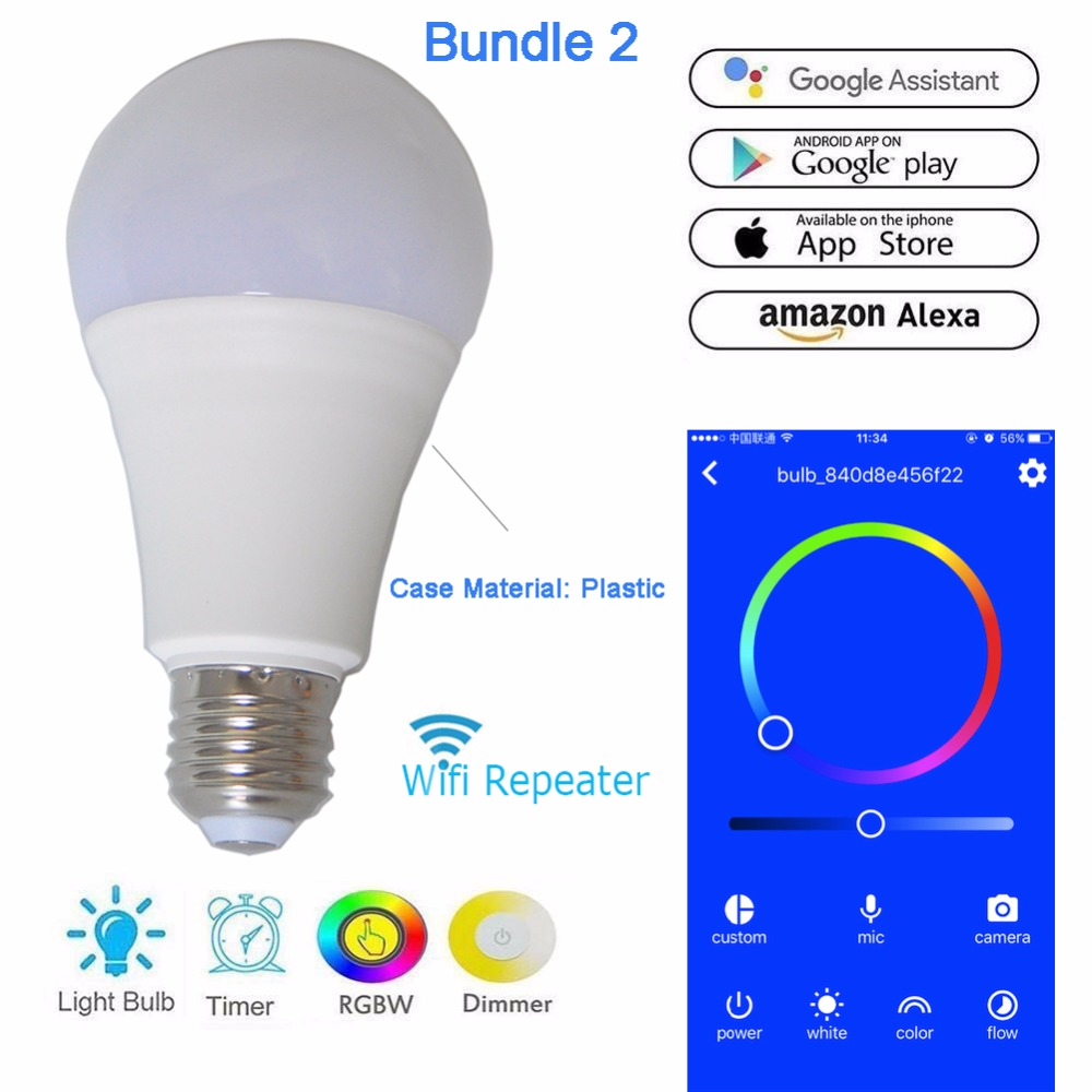 US $11 69 10% OFF|Wireless Wifi LED Bulb Wi Fi Repeater Router Extender  Booster Amplifier ESP8266 E27 for Smart Home 2 4G Android 4 0 / IOS9 0-in