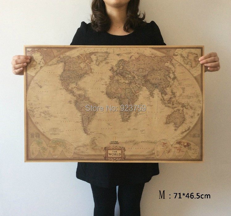Choose size the world map large vintage style retro paper poster choose size the world map large vintage style retro paper poster home wall decoration in wall stickers from home garden on aliexpress alibaba group gumiabroncs Gallery