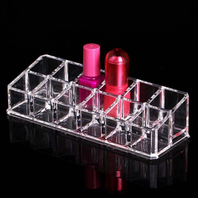 New Arrival 12 Grids Transparent Lipstick Holder Clear Acrylic Display Stand Sundry Storage Box Cosmetic Makeup Organizer 2