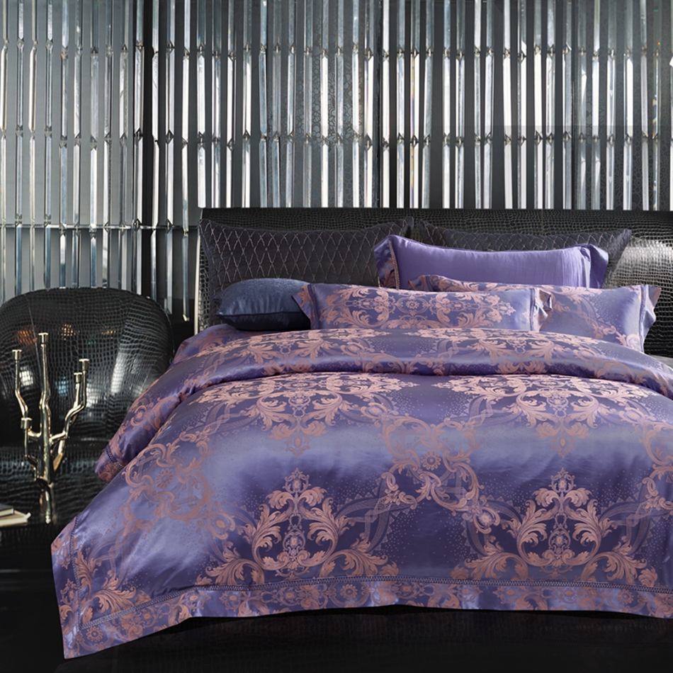 online buy wholesale royal purple sheets from china royal purple  - purple royal jacquard duvet cover set queen king size bedding set cotton satin bed