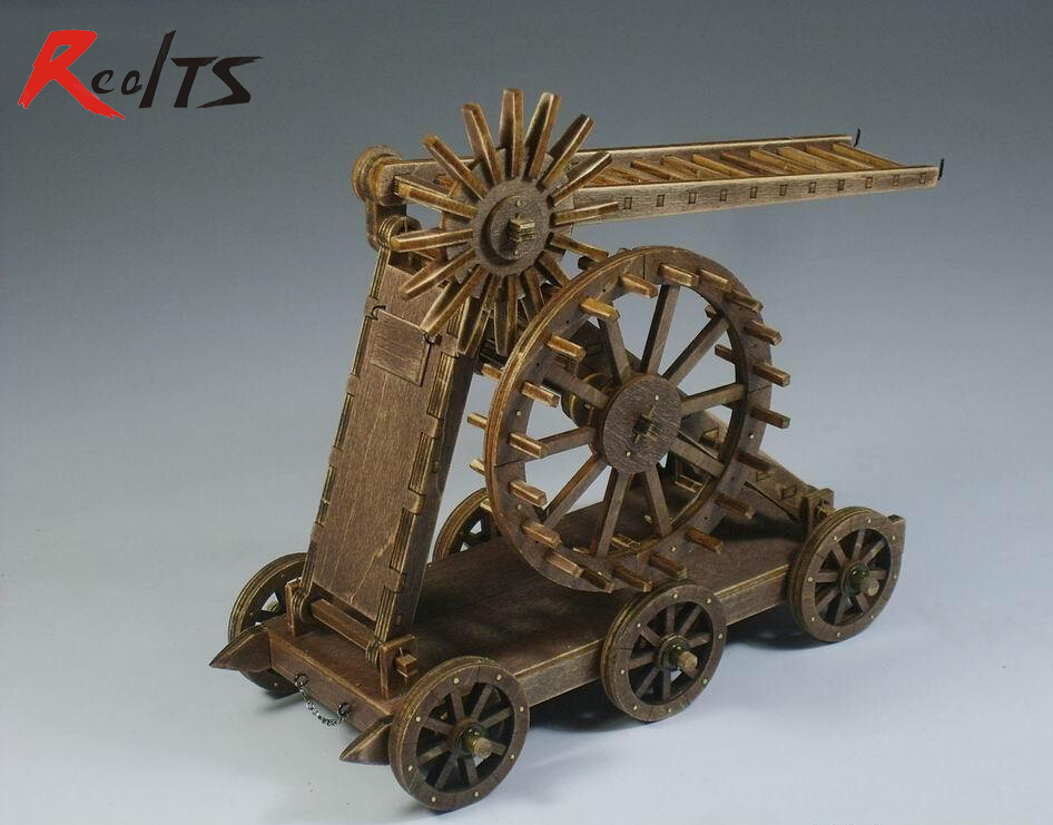 ФОТО RealTS Classic wooden ancient chariots assembled of material aerial ladder truck Model 1 pcs / set