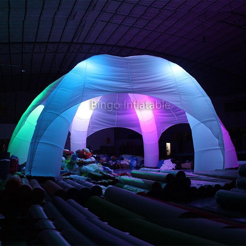 Livraison gratuite 10 m diamètres LED style araignée lueur dans le noir fort oxford tissu gonflable dôme tentes pour repos jouets tentes