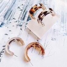 European and American leopard C earring accessories DIY retro pop resin Earrings material