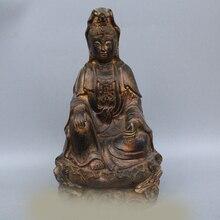 """S DD DS 1"""" Китайский Буддизм Бронзовый Сиденья Кван-инь Гуань Инь Бодхисаттвы Статуя Богини"""