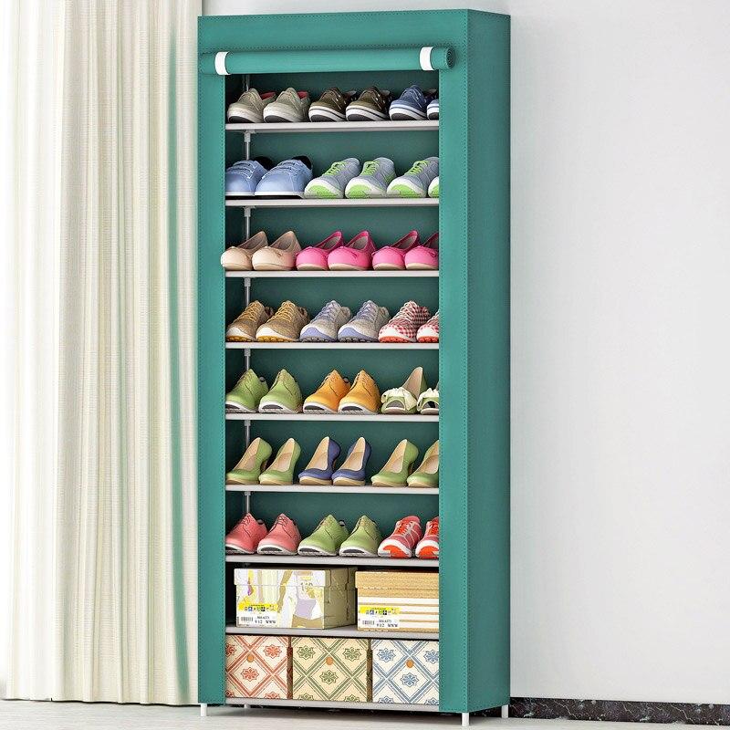 Shoe Cabinet 10 Layer 9 Grid Stainless Steel Fabrics Large Shoe Rack Organizer Removable Shoe Storage