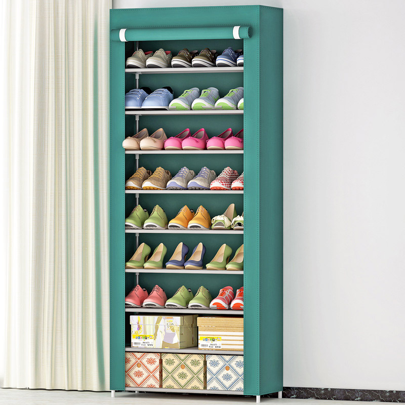 Shoe cabinet 10 layer 9-grid stainless steel fabrics large shoe rack organizer removable shoe storage for home furniture shoe cabinet hign quality shoe storage shoe racks shelf for shoes non woven fabrics furniture mueble zapatero