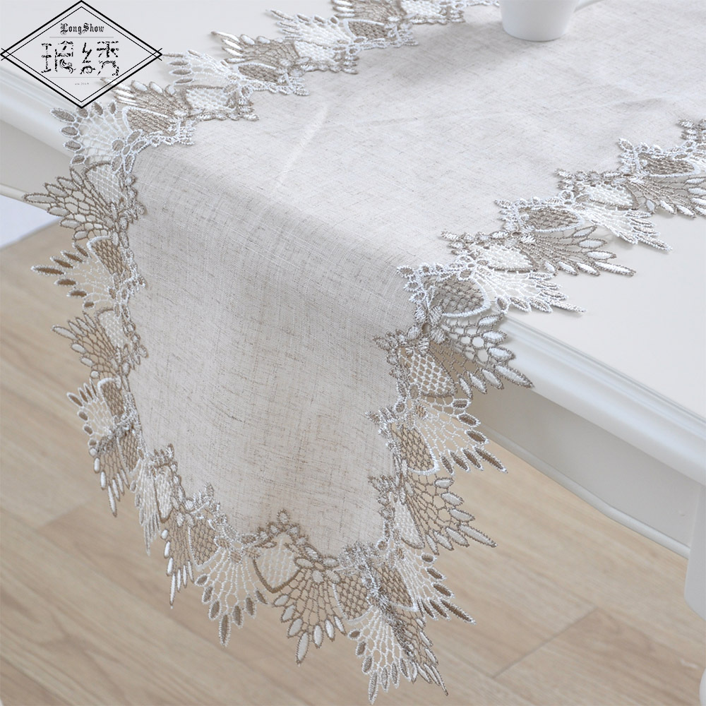Handmade Simple Modern Primary Color Linen Table Cloth Lace Embroidered Linen Tablecloth Tv Cabinet Dust Cover Home Table Runner