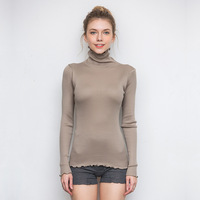 NELLBANG Silk Turtleneck Long Sleeve Pullover Solid Color High Elastic Slim Women Sweater Autumn Winter