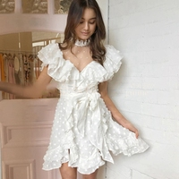 SexeMara fashion The New Mesh Ruffle perspective A word dress Free shipping