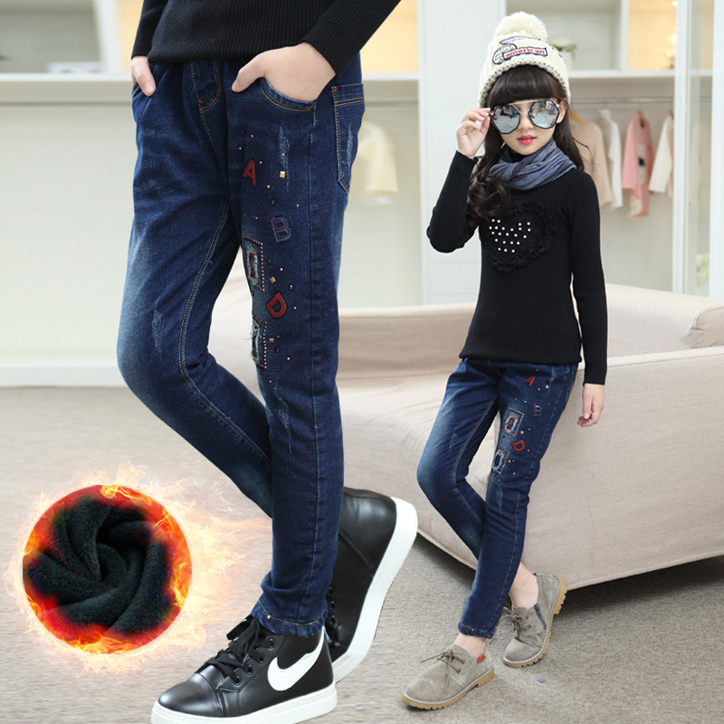 2018 Girls Jeans School Uniform Denim Pant Winter Warm Long Pant Plus Velvet Toddler Jeans For Teenage Student Thick Pant 10 12 цена 2017