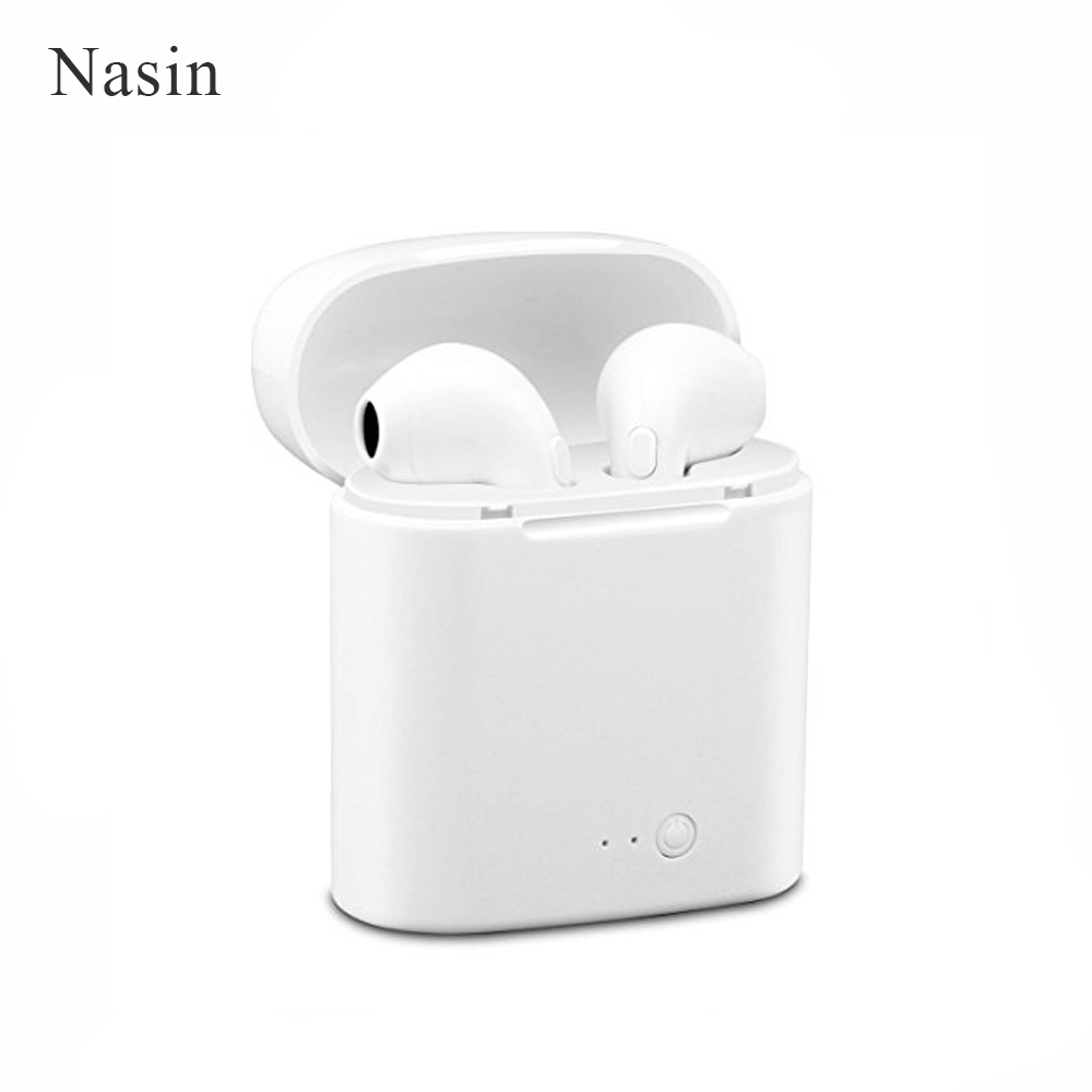 Nasin I7S Wireless Bluetooth earphones Stereo Earbuds In-Ear Earphone Air Microphone Pods for Iphone 6/7/8 plus Apple Android mini bluetooth headsets wireless sports in ear stereo earbuds earpiece earphones not air pods for apple iphone android