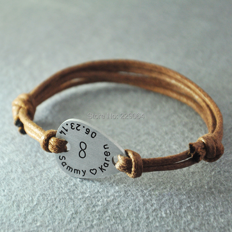 Personalized Infinity Mens Guitar Pick Leather Bracelet