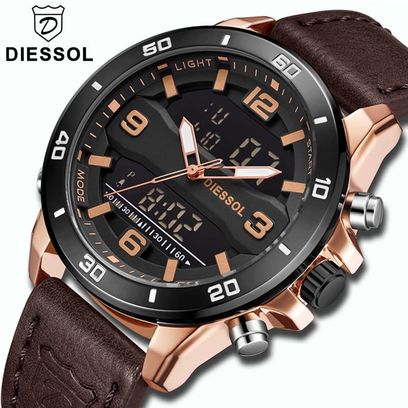 DIESSOL Watch Men Fashion Quartz Sport LED Digital Watch Casual Leather Top Brand Luxury Waterproof Wristwatch
