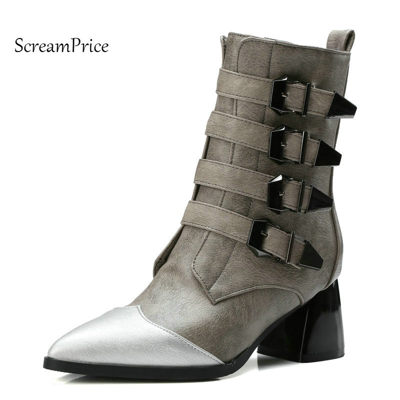 Woman Pointed Toe Square High Heel Mid Calf Boots Fashion Buckle Side Zipper Dress Winter Boots Black Gray double buckle cross straps mid calf boots