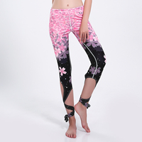 New LOVE SPARK Oriental Cherry Sports Yoga Leggings Women Pink Pants S To 3xl Plus Size