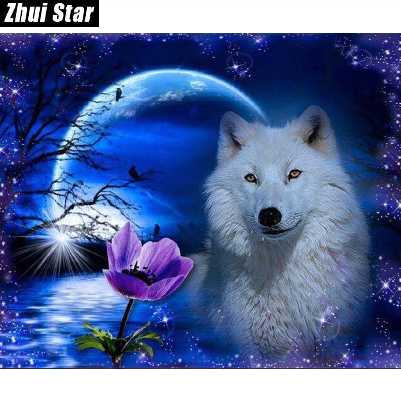 DIY Diamantmålning Needlework Blommor Full Square Drill Mosaic Diamond Broderi Wolf Pattern Decoration Painting Icon