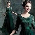 Rendas verde vestido de manga 2015 nova mãe da noiva vestidos vestido de madrinha mutter der braut kleid