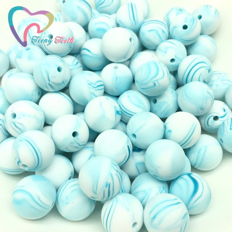 Jewelry & Accessories Teeny Teeth 10 Pcs Pearl Blue Baby Accessories Beads Round Size 12-15mm Food Grade Teething Silicone Loose Bead For Diy Jewelry