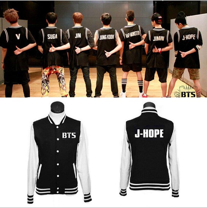 BTS Kpop Bulletproof Cadet SUGA JIMIN V JUNGKOOK J HOPE Rap Monster Baseball Jacket Tracksuit Unisex