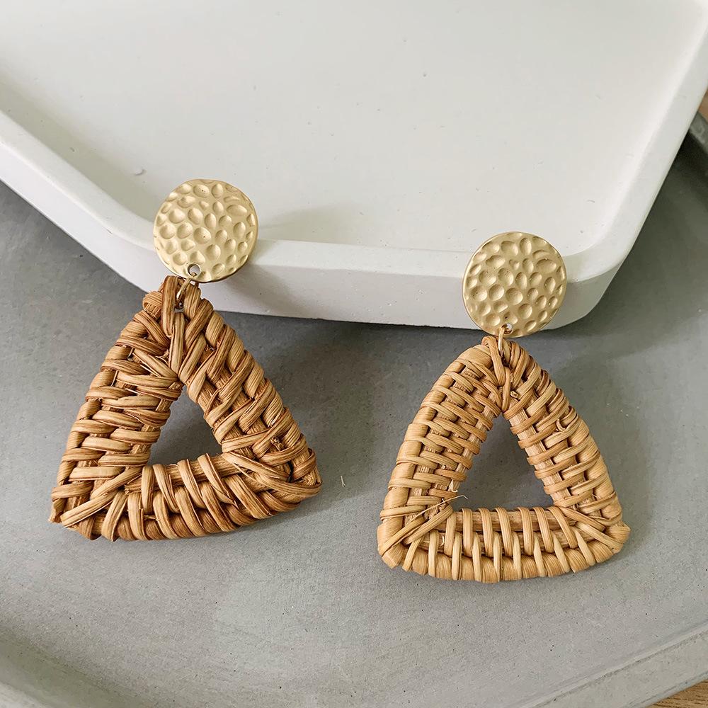 Bohemian Wicker Rattan Knit Pendant Earrings Handmade Wood Vine Weave Geometry Round Statement Long Earrings for Women Jewelry 11