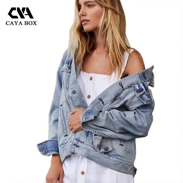 eda19455f25 CAYA BOX oversized denim jean jacket women Autumn 2017 Light Blue Denim  Jacket clothing women Bts