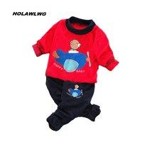 Nuovi bambini autunno adatta abbigliamento per bambini ORSO Aereo Shirt + pantaloni 2 Pz/set neonati maschi vestiti delle ragazze hoodies di Usura della Molla