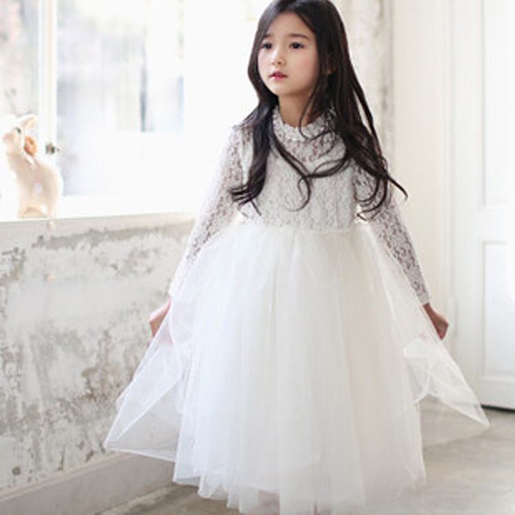 New Girls Rhinestone Necklace Lace Kids Dress Long Sleeved Bowknot Princess Tutu Dress Children Clothing For Party, White/ Pink girls europe and the united states children s wear red princess long sleeve princess dress child kids clothing red bow lace