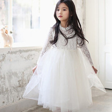 New Girls Rhinestone Necklace Lace Kids Dress Long Sleeved Bowknot Princess Tutu Dress Children Clothing For Party, White/ Pink