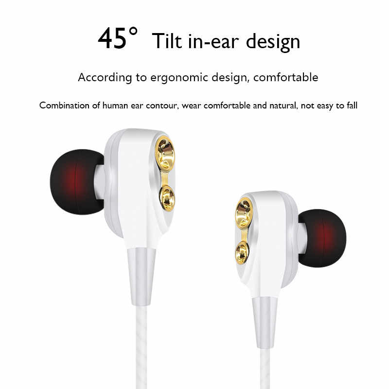 有線ステレオインイヤーイヤホン高重低音デュアルドライブヘッドセットインナーイヤーイヤホン Xiaomi Huawei 社サムスン