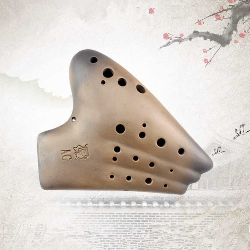 20 Holes Ocarina Three Tubes Smoked Burn Alto C AC Tone Ocarina Musical Instrument Flute blue 12 holes ocarina kiln fired ceramic alto c legend of zelda zelda ocarina flute of time xmas kids gift free shipping