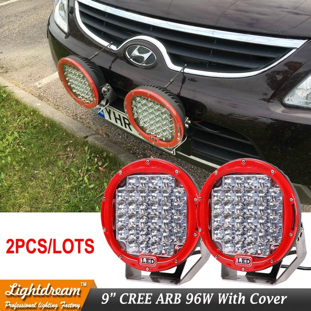 2pcs Black Red Led Work Light 9 inch 96W 24V 12V Spot Beam 32leds For 4x4 Offroad Boat Auto Wrangler Jk Truck led driving light
