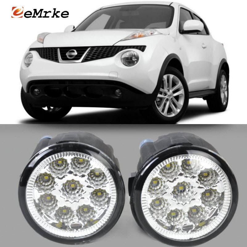 EEMRKE For Nissan Juke 2011 2012 2013 2014 9-Pieces Led Halogen Fog Lights 12V 55W Fog Head Lamp Car-Styling дпа 2014 9 класс днепропетровск