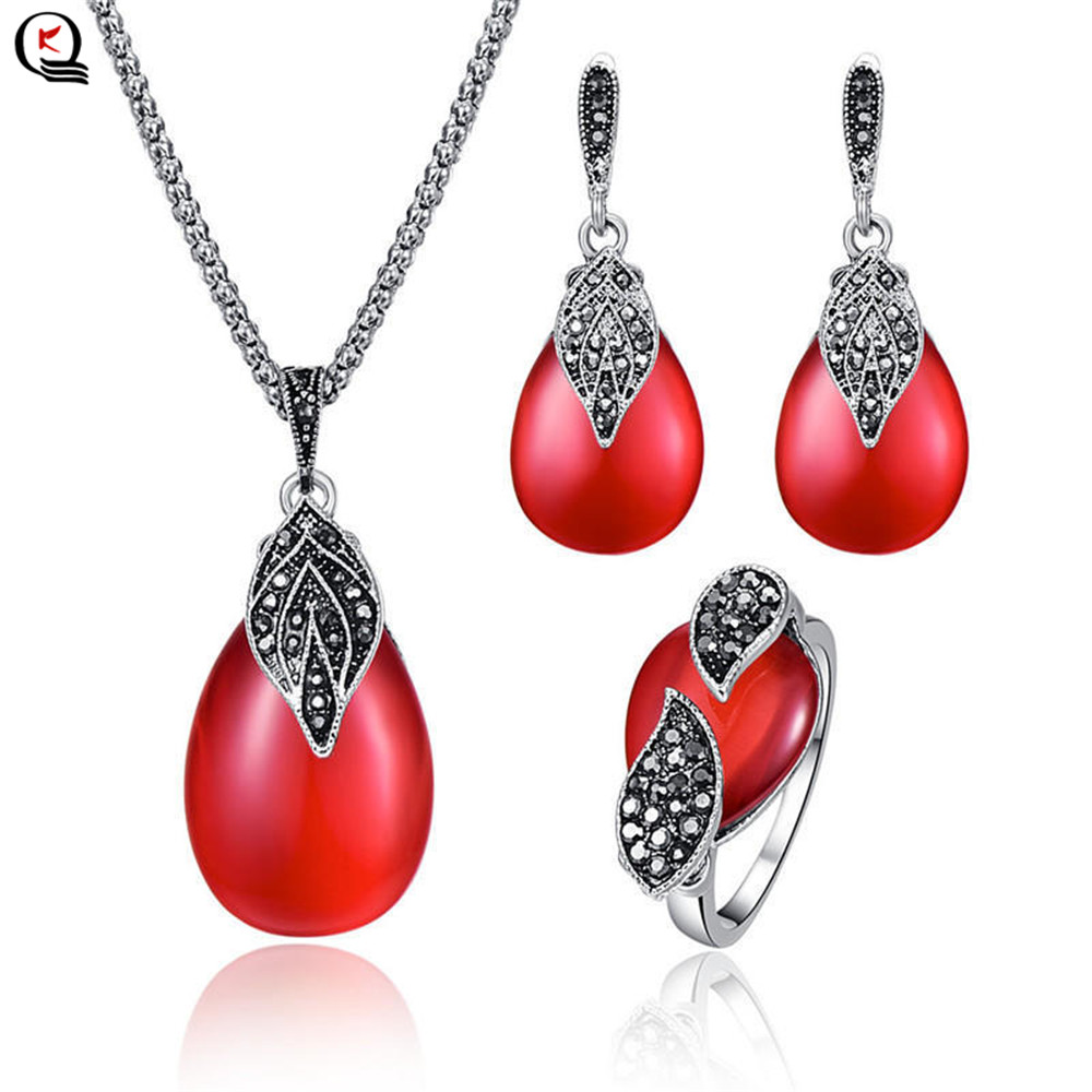 Vintage Silver Women Jewelry Sets Red Green Natural Stone Pendant Necklace Water Drop Earring Finger Ring Sets