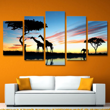 Modern Painting On Canvas Home Decor Dusk View 5 PiecePcs Wild Giraffe Posters Frame Living Room Wall Art Pictures HD Printed