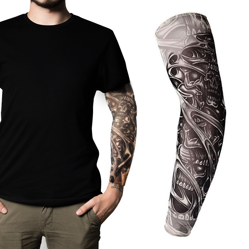 New 3D Tattoo Printed Elastic Arm Sleeves Arm Warmer Unisex UV Protection Outdoor Cycling Driving MTB Tattoo Design Arm Sleeve