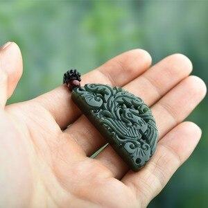 Image 5 - 100% Подвеска из натурального зеленого нефрита с резным китайским драконом ожерельлье Феникса для женщин и мужчин ювелирные изделия для влюбленных Бесплатная веревка