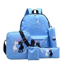 4pcs/Set Canvas Women Backpack Girls Cute Cat Print Student School Bag houldbag Pencil Case Cosmetics Makeup